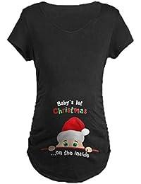 worclub Camisa de la Navidad de Las Mujeres Embarazadas, Camiseta Divertida Linda de Maternidad del