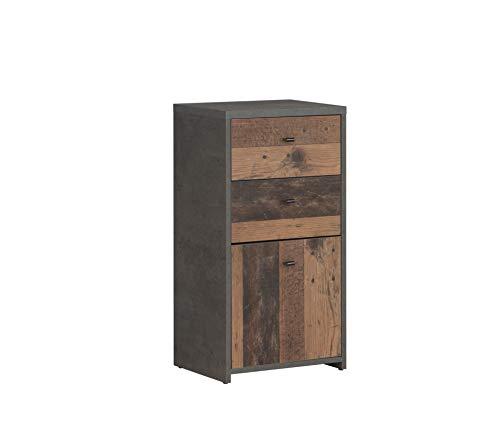 collezione Old-Wood Vintage Com/ò con 1 anta e 2 cassetti Newface effetto cemento taglia unica