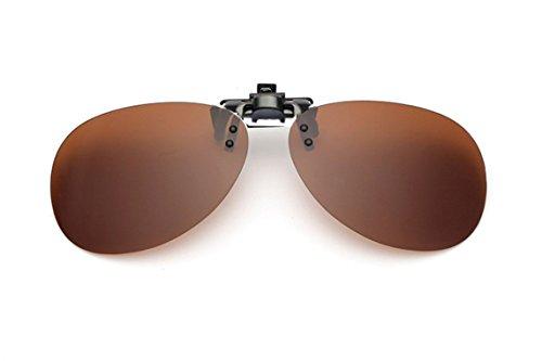 UK1stChoice-Zone Unisex Flip-up Sonnenbrillen Klipp auf Polarisierte Sonnenbrille Gläsern Brille Sun-ClipON1304 (Braun)