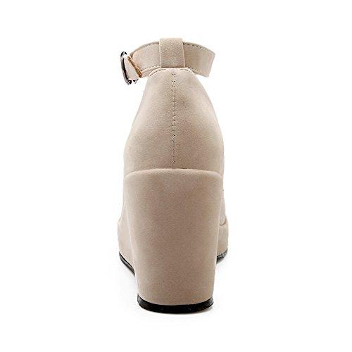 Bombas Puramente Mulheres Allhqfashion Toe Sapatos Fivela Materiais Alto De De Creme Misturar Salto qR7Owqrz