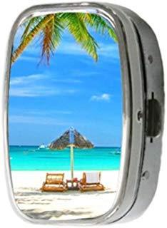 Thema Sommer Strand Palme Rechteck Edelstahl Medizin Pille Vitamin Box Case Container