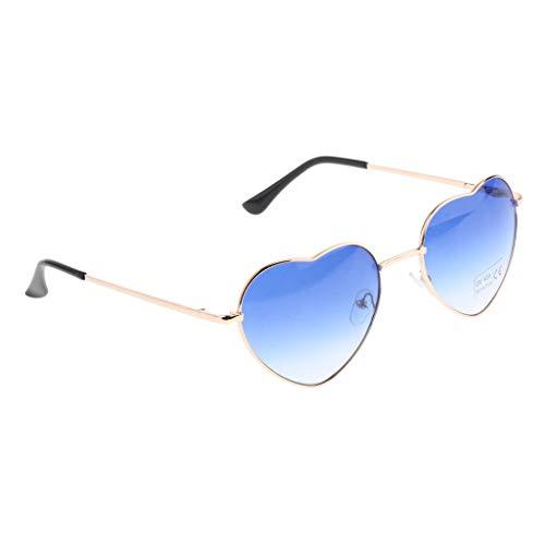 SM SunniMix Herz Sonnenbrille Metall Rahmen Pack für Kinder Damen Sommer - Blau