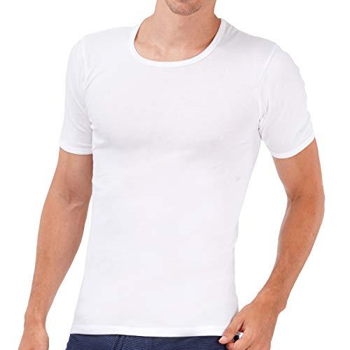 ASCOT 4er Pack Herren Unterhemd mit Arm I Halbarm-Unterhemd aus 100% Baumwolle ohne Seitennähte I Herren Rundhals-Unterhemd in Feinripp-Qualität I Weiß I Größe 6 (L)