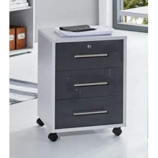 BMG-Moebel.de Büromöbel komplett Set Arbeitszimmer Office Edition Mini in Lichtgrau/Anthrazit Hochglanz (Rollcontainer)
