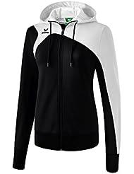 Erima Club 1900Mujer 2.0Chaqueta de entrenamiento con capucha, todo el año, mujer, color negro/blanco, tamaño 42