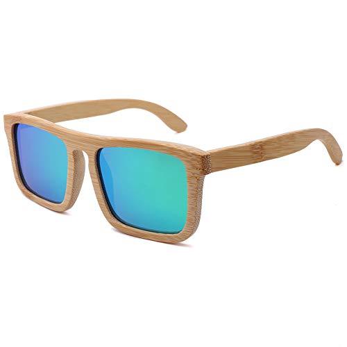 TOOSD Bambus Sonnenbrillen Retro Holzoptik-Brillen - Klassische Holzschirme Damen - Modische Brillen mit Etui polarisierte Gläser,C