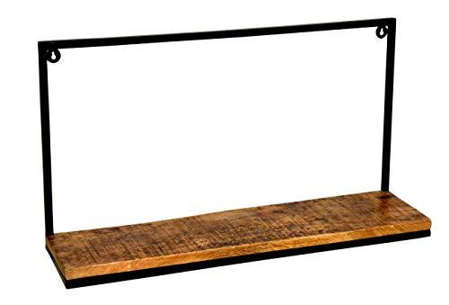 Wand-Regal Weinregal Bücherregal Deko-Ablage aus Schmiedeeisen / Mangoholz, Edel Design Sägerau, Stylisch LxTxH 75x20x40cm auch für kleine Räume geeignet zeitlos und modern, nur 2 Bohrlöcher notwendig -
