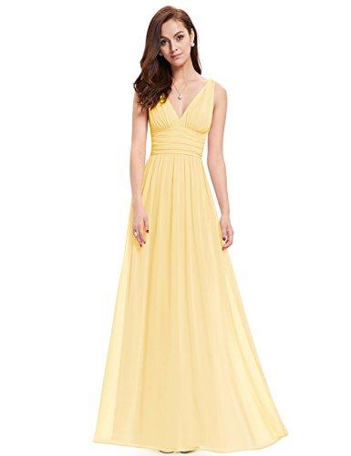 Ever Pretty Damen V-Ausschnitt Lange Chiffon Abendkleider Festkleider 46 Gelb