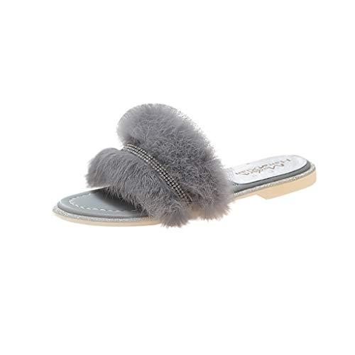 FNKDOR Schuhe Damen Hausschuhe Peep-Toe Pantoffeln Strass Pelzig Mode Outdoor Pantoffel Slides Grau 38 EU Tone Peep Toe Slingback Sandal