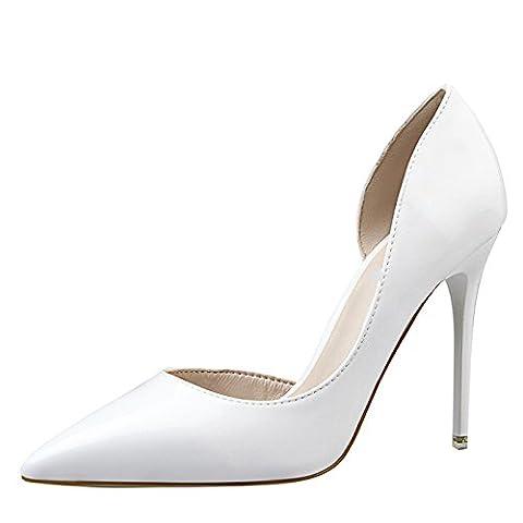 OALEEN Escarpins Vernis Sexy Bout Pointu Côté Ouvert Chaussures Talon Haut Aiguille Mariage Femme Blanc 36