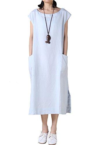 Vogstyle Damen Sommerkleid mit Taschen Plain Dress M Hellblau