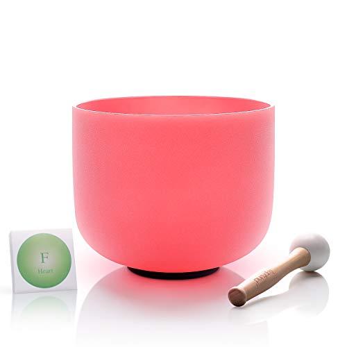 TOPFUND singen schalen 432Hz F notiz kristall klangschalen herz chakra rosa farbe 8 zoll (o - ring und hammer enthalten)