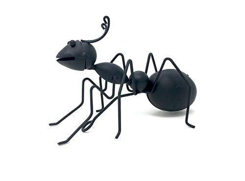 bagusto Schwarze Ameise Deko 18cm aus Metall Skulptur Drahtkunst Gartendeko