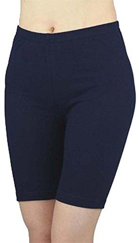 Nouveau Dames Grande taille Cyclisme Short Lycra élastique Le genou Short Jersey Viscose Chaud Pantalons 44-54 Navy