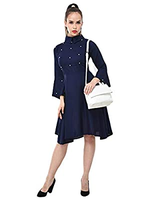 DIMPY GARMENTS BuyNewTrend Navy Rayon Knee-Length Flared-Sleeve Dress for Women