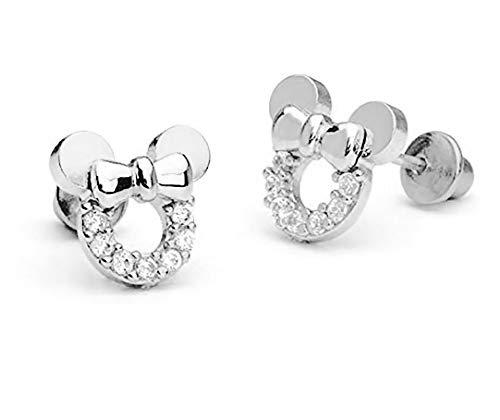 findout Micky Maus Ohrringe aus Sterlingsilber, Zirkonia, für Frauen und Mädchen (f1696silver) -