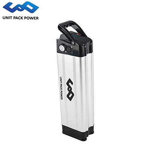 uppcycle Batteria al Litio E-Bike, 36V 11.6AH Batteria Fish Fish + LED Power Display + Caricabatterie 42V 2A, Adatta 300W / 350W / 500W E-Bike Motor (Sliver, 36V 11.6AH-Samsung Cells)