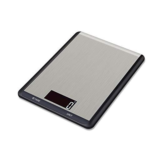 Hotchy Digital Báscula con Pantalla LCD para Cocina de Acero Inoxidable, 5kg/1lbs,Balanza de Alimentos Multifuncional, Peso de Cocina, Color Plata (Baterías Incluidas)