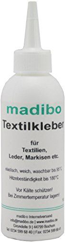 madibo Textilkleber 150 ml mit 4 Mini-Schwämmen - wasserfest, kochfest, bügelfest, - Intensität Uv-lampe Die