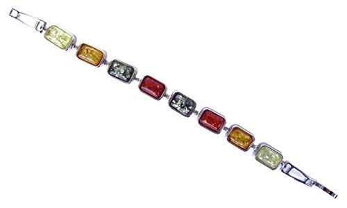 MULTI COLORE ambra baltica braccialetto della pietra preziosa LINK PER LE DONNE IN ARGENTO PLACCATO braccialetto Handmade secondo le antiche tradizioni