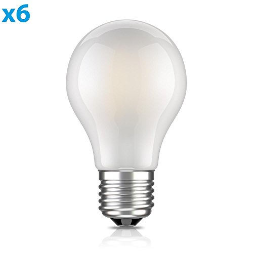 ledscom.de E27 LED Birne Filament matt A60 4W =40W warm-weiß 400lm A++ für innen und außen, 6 Stk. (40 W Glühbirne)