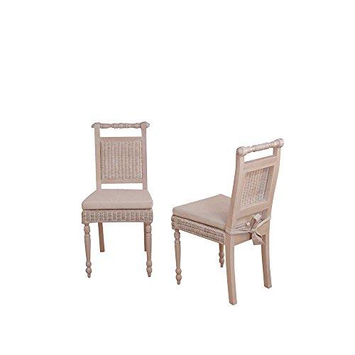 Pharao24 Esszimmerstuhl aus Rattan Akazie Massivholz Stuhl-Eigenschaften Mit Polsterauflage Bezugstoff Webstoff Bezugstoff