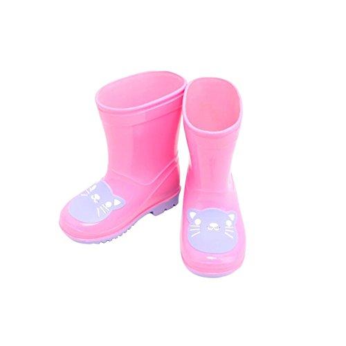Meijunter Fashion Antidérapant Enfants Garçons filles Rain Boots Imperméable Rain Shoes Caoutchouc Boots Chaussures nautiques pink