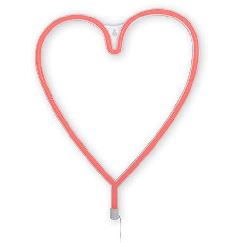 Dresz Wandlampe, LED Wandleuchte, Neon Lampe, Inklusiv Zwei Montagehaken, Herz, Plastik, 1 W, Rot, 29.5 x 36 x 2 cm -