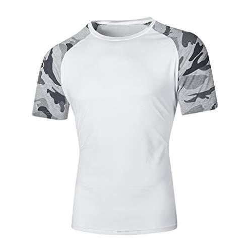 KUKICAT Herren Top Oberteile, Mode lässig schlank Camouflage Print Kurzarm T-Shirt Top Shirt