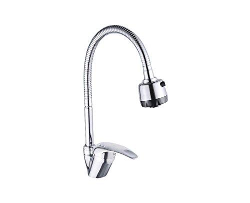 Preisvergleich Produktbild takestop Wasserhahn Spülbecken Küchenarmatur A Handbrause flexibel 360 Grad Stahl Silber Bari 52847 verstellbar Einhebelmischer Armatur