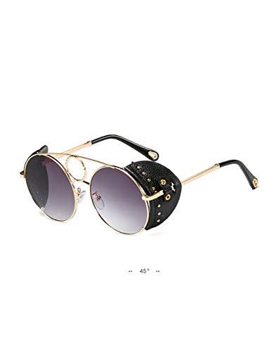 DPDH Sonnenbrillen Lederrahmen Punk Sonnenbrille Frauen Retro Style Runde Steampunk SonnenbrilleC3 Gold Frame Gray