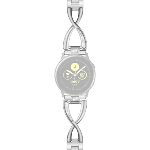 Bearbelly Armband Kompatibel mit Samsung Galaxy Watch 42mm Edelstahl Strasssteine Aushöhlen Sport Business Ersatz Uhrenarmband Damen Kettenriemen Kreativ Geburtstag Geschenk (Galaxy Samsung Cricket 2 Für)