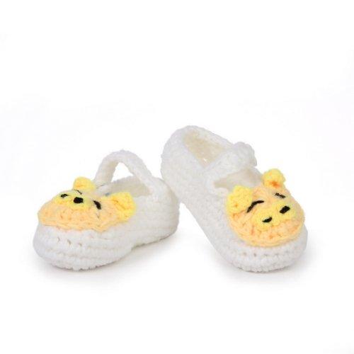 Bigood 0-6 Baby Krabbelschuhe Gestrickte Schuhe flauschige Baby-Unisex Länge 11 cm Sonnenblume Gelbgrün Schwein Weiss C