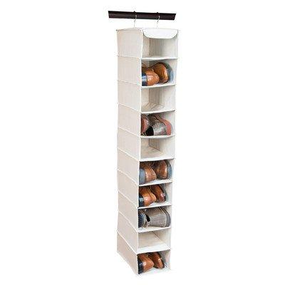 Large Canvas 10 Shelf Hanging Shoe Organizer / Storage Rack (Natural Beige)