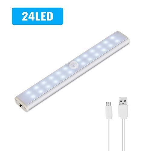 Lacyie Schrankleuchten 24 LEDs Schrankleuchte mit Bewegungsmelder USB Kabellosen Wiederaufladbare 3 Modi Auto On/Off Magnetisch Schranklampe für Garderobe Innen Kaltweiß (1 Stück)