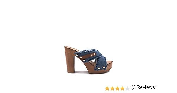 Chic nana chaussure femme mode sandale sabot jeans à talon en