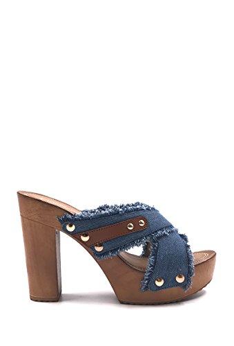 CHIC NANA . Chaussure Femme Mode Sandale sabot jeans à talon. Bleu foncé
