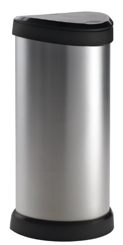Curver 40 L Metal Effect Plastic One Touch Deco Bin, Silver