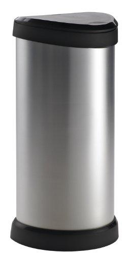 Curver 177729 Touch - Papelera (mecanismo de apertura con toque, 40 L), color gris metálico