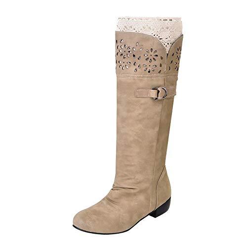 Scarpe Donna ASHOP Stivali Alti da Donna con Fondo Piatto Stivali da Cavaliere Stivali Bassi Stivali Donna Invernali