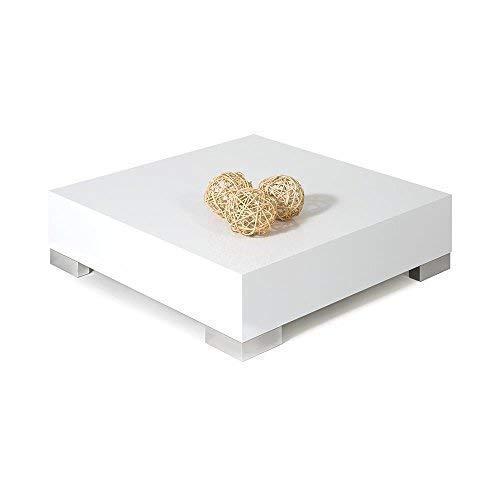 Mobili Fiver, iCUBE 60 Tavolino da Salotto, Legno, Bianco Lucido, 60 x 60 x 18 cm, Nobilitato/Acciaio Inox Satinato, Made in Italy, Disponibile in Vari Colori