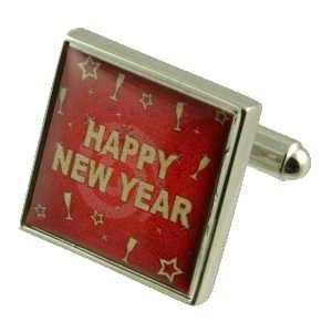 Nouvel an Eve Boutons de manchette avec étui Noir