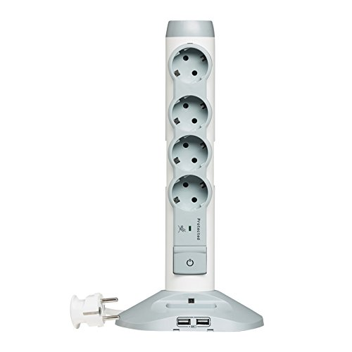 Legrand, drehbarer Steckdosenleisten-Tower mit 2x USB und 1x Mini-USB-Steckplatz, Mehrfachstecker mit 4 Steckdosen (4-fach), Ein/Aus-Schalter mit LED-Beleuchtung , 694614 - Drehbare Steckdose Mit Überspannungsschutz