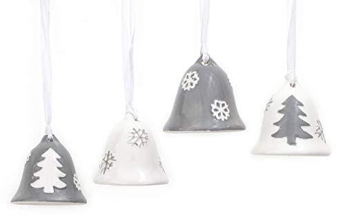 TEMPELWELT 4X Deko Anhänger Glocke Glöckchen Im Set Je 5 cm Lang, Dolomit Weiß Grau, Seidenband Zum Hängen Fensterdeko Baumschmuck Winter Weihnachten
