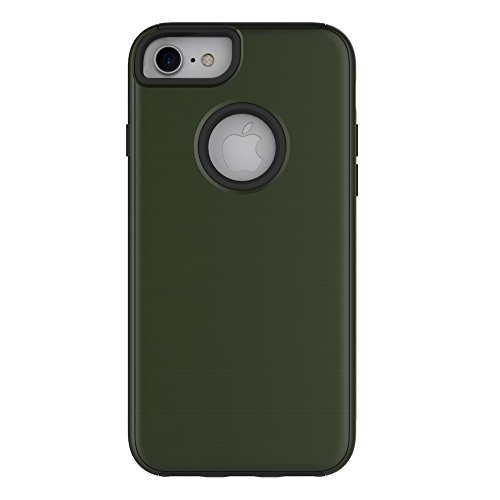 Pour Apple IPhone 6 et 6s Plus Case, fini métallique brossé Back Cover Dual Layer 2 In 1 Hybrid Hard PC Soft TPU Bumper Shockproof Case Cover ( Color : Black ) Green