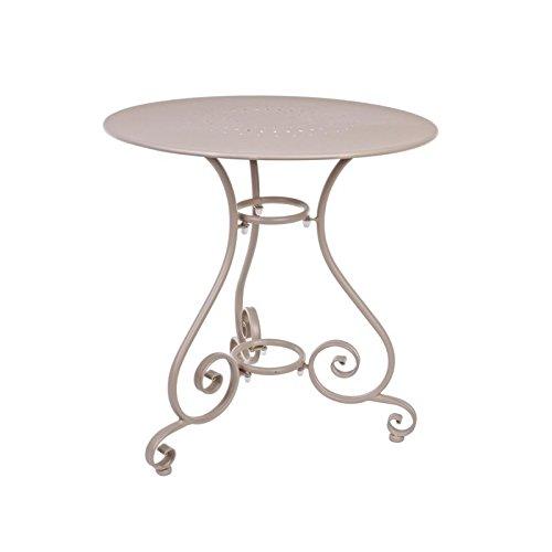 Table Etienne Ø70 cm Taupe Bizzotto rond pour intérieur extérieur jardin patio ameublement