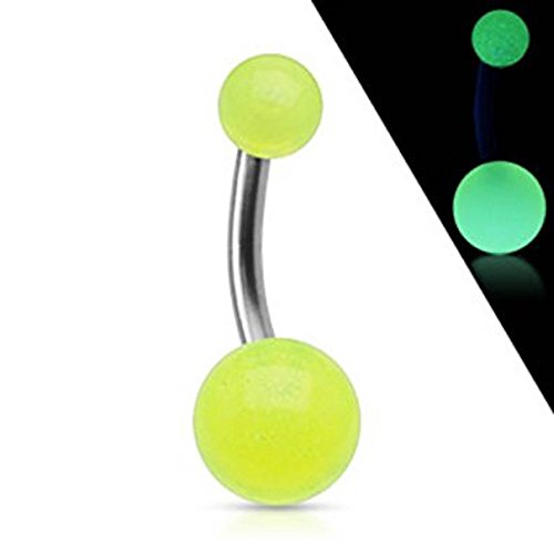 Grünes Glühen in den dunklen Kugeln Festes Grad 23 Titan-Bauch-Stab-Durchstechen-Stärke: 1.6mm Länge: 10mm