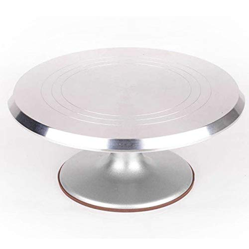 Yaoaoden Round Rotating Cake Platform Stainless Steel Cake Swivel Plate with Silicone Base Durable Revolving Decoration Stand -