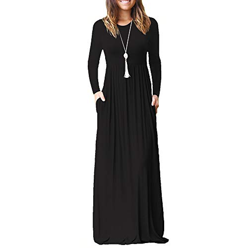 ZHANGNA Women Autumn Dress Ladies Casual Long Dress T-Shirt Dress Elegant Solid Color Loose Maxi Dress (S, Long Sleeve Black)