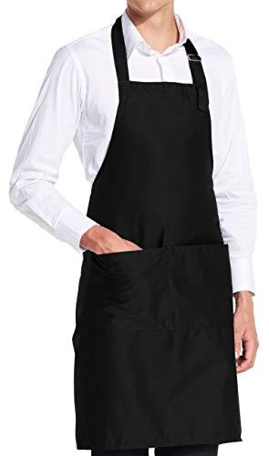 vanVerden - Premium Schürze - Schwarz Blanko - Schwarze Latz-Schürze (Kochen, Kleidung)